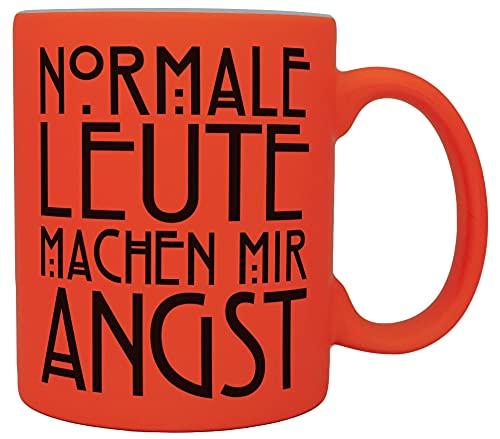 vanVerden Neón taza – Normale Leute machen mir Angst – Serie película cita – Impresión por ambos lados – Idea de regalo taza de café, color naranja neón