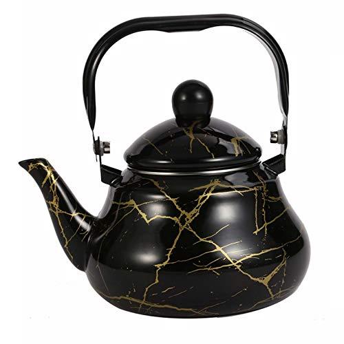 Bueuwe Emaille Teekanne Birnenform Klassische Teekessel Porzellan Emaillierter Teekessel Bunte Heißwasser-Kaffeekanne Für Alle Herdplatten,Schwarz,2 L