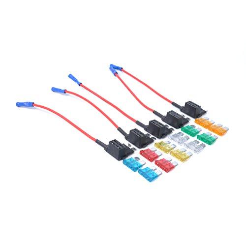 VORCOOL Porte-fusible de Voiture en Ligne avec Fusibles Taille Moyenne 32 V (Noir) 5 pcs