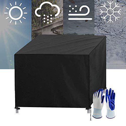 Apodis Rattan Cube Cover, Garden Furniture Covers Waterproof Wind-proof Patio Furniture Cover Heavy Duty 420D Oxford Cloth Anti-UV for Outdoor Table Chairs Sets 115×115×74cm Black