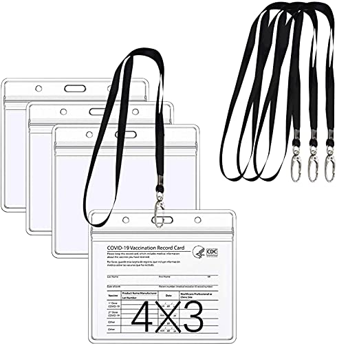 6Pack CDC Vaccination Card Protector 4 X 3 Inches Immunization Record Vaccine Horizontal ID Card Name Tag Badge Cards Holder Clear Vinyl Plastic Sleeve with Waterproof Type Resealable Zip