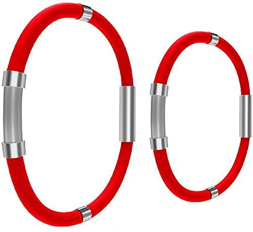 SKLU Pulsera de equilibrio de iones atléticas, pulsera de moda de bienestar energizado, pulsera de iones negativos, pulsera de silicona antiestática (2 unidades, rojo)