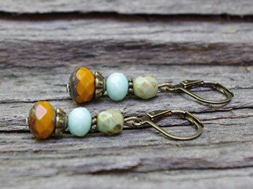 Feine Vintage Ohrringe mit Glasperlen - ocker, orange, türkis, khaki & bronze