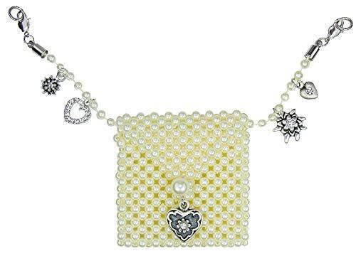 LUISIA® Charivari Kette mit Perlen Geldbeutel und Kristallen von Swarovski® - Geldbörse Dirndl Lederhose Schmuck Anhänger Edelweiß Herz Strass