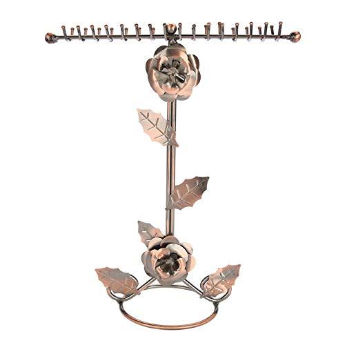 Cuque Soporte de exhibición de la joyería de la Flor de Rosa Soporte de exhibición de la Pulsera del Collar del diseño del Gancho Crudo Doble, Usado para la joyería en línea Organizador (1#)