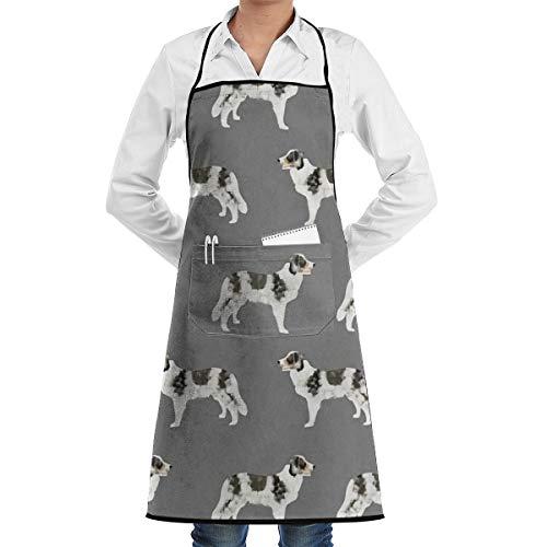 N/A Border Collie Blue Merle Dogs - Delantal unisex con bolsillos para casa, restaurante, manualidades, jardín, barbacoa, escuela, cafetería