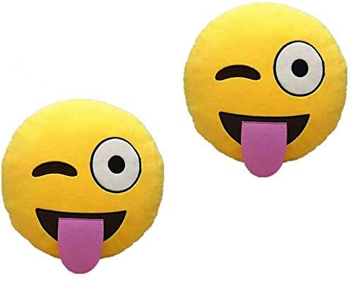 ML Pack 2 x Cojín Emoji Sonrisa, Almohada Emoji Emoticon Relleno Suave Juguete de Peluche 35x35x5cm Cada uno