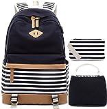 Mochila de Lona a Rayas Cabe 15.6'Laptop Bolsas Escolares para niñas Adolescentes Daypacks Casuales con Puerto de Carga USB, 1 Monedero del Bolso, 1 Bolsa de Almuerzo Pack de 3- (Negro)