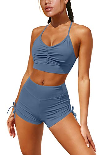 OQQ Women 2 Piece Leisure Yoga Workout Outfit Ruched Gym Running Shorts Racerback Sports Bra Set Blue