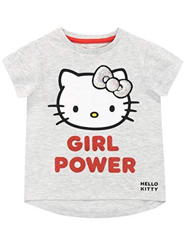 Hello Kitty Maglietta Maniche Corta per Ragazze Grigio 6-7 Anni