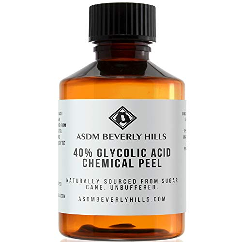ASDM Beverly Hills Glycolic Acid Peel 40% 2Oz 60ml Medical Strength Treatment, Reduce Acne Pores, Scars, Breakouts, Sunspots, Wrinkles, Discoloration, Increase Collagen, Anti-Aging, AHA Chemical Peels