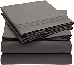 Mellanni Bed Sheet Set - Brushed Microfiber 1800 Bedding - Wrinkle, Fade, Stain Resistant - Hypoallergenic - 4 Piece (Queen, Gray)