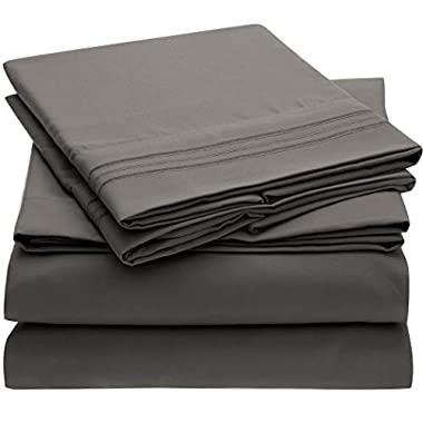 Mellanni 3pcs Bed Sheet Set Brushed Microfiber 1800 Bedding - Wrinkle, Fade, Stain Resistant - Hypoallergenic - 3 Piece - 1 Fitted Sheet and 2 Pillowcases (Queen, Gray)