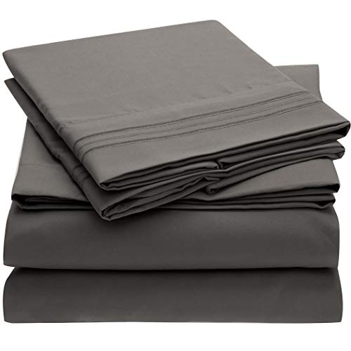 Mellanni Bed Sheet Set - Brushed Microfiber 1800 Bedding - Wrinkle, Fade, Stain Resistant - 4 Piece (King, Gray)