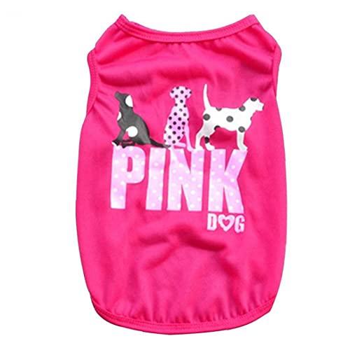 Cane maglia di estate sottile di animali senza maniche T-shirt traspirante cucciolo molle Pullover Rosy M