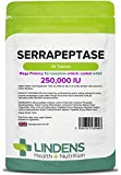 Lindens Serrapeptase 250, 000IU High Strength Tablets | 30 Pack | Ultra High Strength and Phthalate-Free Enteric Coated Tablet to Pass Through Stomach for Maximum Absorption