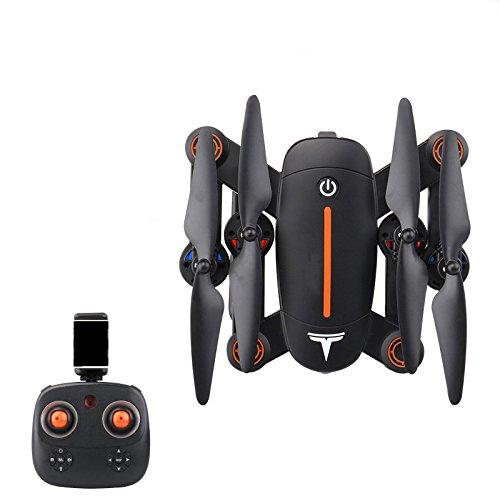 Plegable RCDrone WiFi FPV Quadcopter con Cámara De 300W HD con Altitude Hold Y Modo Sin Cabeza 2.4GHz 6-Axis Gyro Pocket Quadcopter con Giro De 360º con Un Botón Helicopter,BlackOrange-1Battery