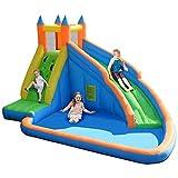 BJH Castillo Hinchable Inflable, Centro de Actividades de tobogán de Piscina de Agua de casa de Salto para niños con tobogán acuático