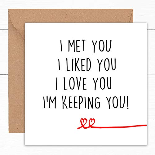 Happy Wedding Anniversary Cards | Valentines Cute Funny Card | For Wife Husband Girlfriend Boyfriend Him Her | Partner Gay LGBT Gift | Handcrafted | 1st 2nd 3rd 4th 5th Year Ruby Tin Golden | 6'