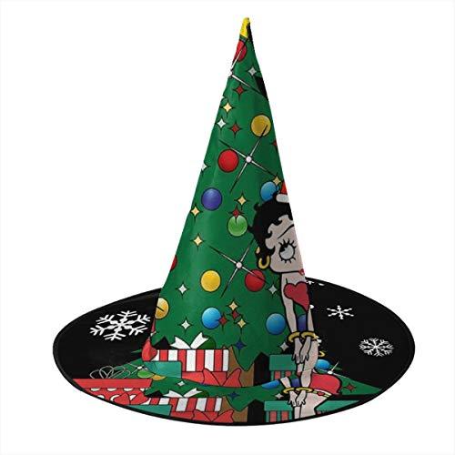 KUKHKU Betty Boop Around The Christmas Tree Witch Hat Halloween Unisex Disfraz para día festivo Halloween Navidad Carnavales Fiesta