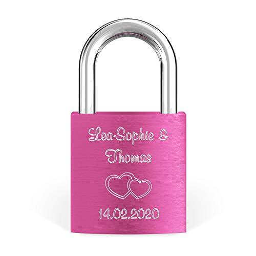 LIEBESSCHLOSS-FACTORY Liebes-Schloss Pink mit Gravur und Schlüssel, gratis Geschenkbox uvm. Jetzt graviertes Vorhängeschloss gestalten!