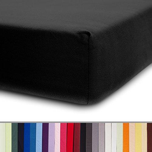 Lumaland Comfort Jersey Spannbettlaken 100% Baumwolle mit Rundum-Gummizug 160g/m² 180 x 200 cm - 200 x 200 cm Schwarz