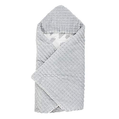 TupTam Baby Einschlagdecke für Babyschale - Wattiert, Farbe: Wolken Grau, Größe: ca. 75 x 75 cm