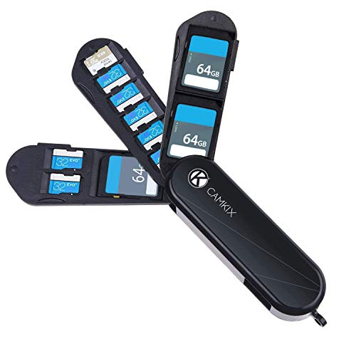 Custodia Porta Scheda di Memoria e SIM Card con Lettore Micro SD (USB) e Pin di Estrazione – Design Stile Coltellino - Adatto a 6x Scheda Micro SD, 1x Scheda SD, 1x Mini SIM,1x Micro SIM e 1x Nano SIM