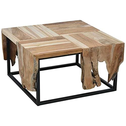 Guooki Mesa auxiliar sala de estar de madera teca Mesa auxiliar de madera sofá de madera café té escritorio sala
