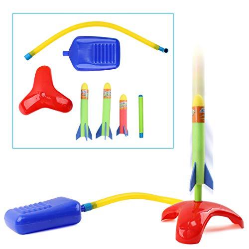 deAO Lanciarazzi per Bambini Saltare ed Lanciare Playset Set di Giochi di Scienze Include i Razzi di Gommapiuma per Interni ed Esterni (6 Razzi)