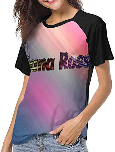 Qhghdgysd Diana Ross Stylish Baseball Short Sleeves Women Raglan Sleeve Tees,Black,XXL