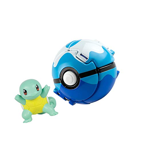 FHERIC Pokèmon Throw 'N' Pop Poké Ball with Pokemon Action Figures Toy for Kids (Squirtle and Dive Poké Ball)