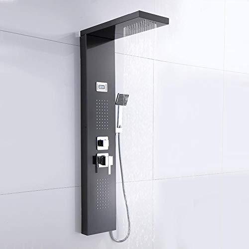 lyrlody Duschpaneel, 3/8 \'\' Edelstahl Brausepaneel Duschsysteme Duschsäule Wasserfall Dusche Regendusche Duscharmatur mit Thermostat und LCD-Display, Kopfspray, Handspray und Duschkörper