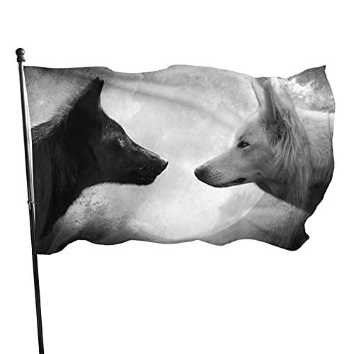 GOSMAO Bandera de jardín Negro Blanco Luna Lobo Color Vivo y UV Resistente a la decoloración Bandera de Patio de Doble Costura Bandera de Temporada Banderas de Pared 150X90cm