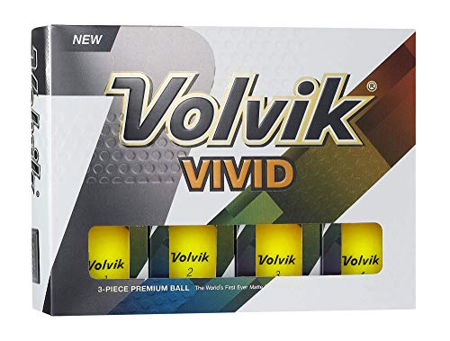 Volvik Vivid Golf Balls, Matte Yellow (One Dozen) - 9730