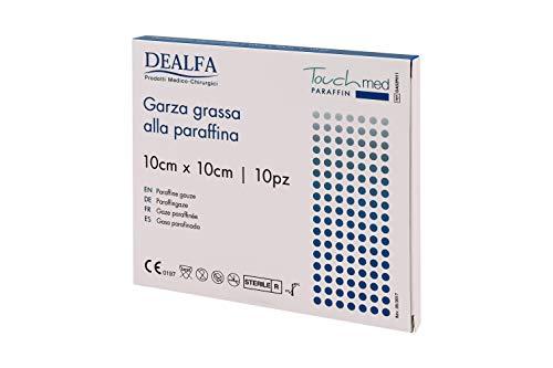 Touchmed - Apósito de gasa, grasa de parafina – 10 x 10 cm – Paquete de 10 unidades en sobres individuales estériles