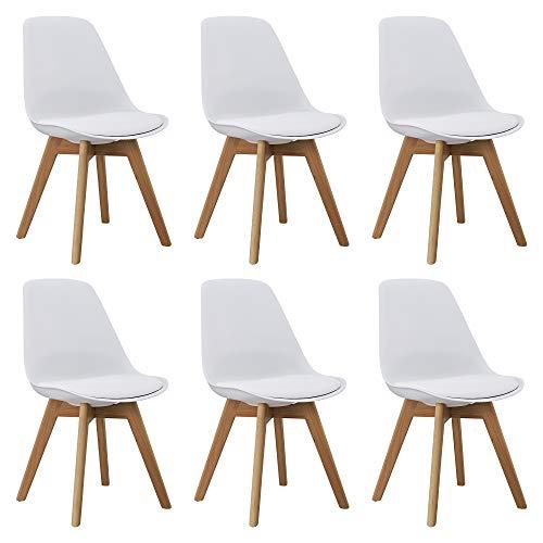 Orville Milou Designer Stuhl Weiß   robust & Leichter Aufbau   Ideale Esszimmerstühle, Stühle Esszimmer, Esszimmerstühle 6er-Set, Esstisch Chair, Küchenstühle, Essstühle, Esszimmerstuhl, Schalenstuhl