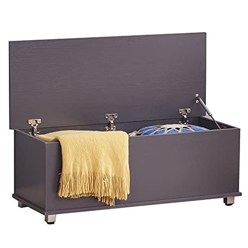 Banco de juguete para niños, con asas de tapa, organizador de almacenamiento para guardería, dormitorio, sala de juegos, color blanco (76 x 40 x 48) cm (gris)