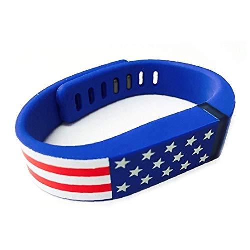 Reemplazo de Smart Band para el patrón de la bandera americana de las barras de Fitbit Estrellas EE.UU. banda de silicona pulsera de la venda para hombres y mujeres - Bluefor Conveniencia