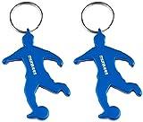 munkees 2 x Schlüsselanhänger Fussball I Flaschenöffner I Fußball Fanartikel I Geschenk Artikel, Doppelpack Blau, 34906