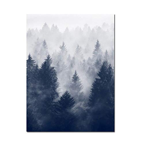 yaoxingfu Kein Rahmen Nordic Home Decoration Blau Meer Leinwand ng Nordic Poster Wald Leinwand Poster Und Drucke Dekoratives Bild 30x45cm