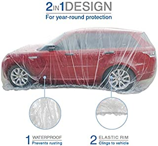 VViViD Universal Clear Plastic Disposable SUV-Sized Car Cover w/Elastic Band