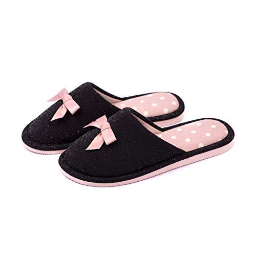 TWINS Fashion « Rome » Pantofole da casa Donna Eleganti Ciabatte Calde da Interno comode Babbucce di Cotone Leggere Suole Antiscivolo Senza Rumore - Nero Rosa 40
