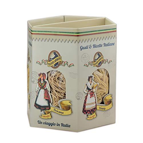 Cesti Natalizi Speciale Italia – Cesto Regalo Alimentare in Confezione Esagonale da 6 Formati Misti di Pasta Artigianale Trafilata al Bronzo (Pasta di Semola, Tricolore e all'Uovo), [3kg]