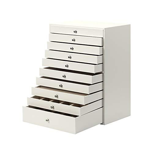 Caja de joyería Caja de almacenamiento de gran caja de joyería / Organizador / Falso caso de cuero de la manija de almacenamiento caja del cajón Tipo de la joyería, 10 Capa, regalo for las niñas o muj