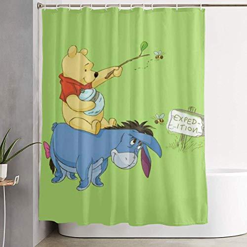 milkcolor Lustiger Stoff Duschvorhang Winnie Pooh wasserdichtes Badezimmer Dekor mit Haken 60 x 72 Zoll