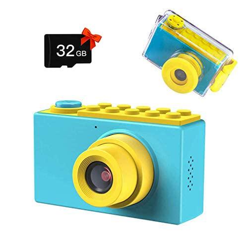Kriogor Kamera Kinder, wasserdichte Kids Digitalkamera und Videokamera mit HD 1080/ 8 Megapixel/ 2 Zoll Bildschirm/ 32G TF Karte, Geschenke für Kinder (Blau)