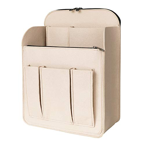 APSOONSELL Large Backpack Organizer Insert Felt Bag Organizer with Zipper Backpack Shaper Foldable Purse Organizer for Rucksack Shoulder Bag, Beige, L