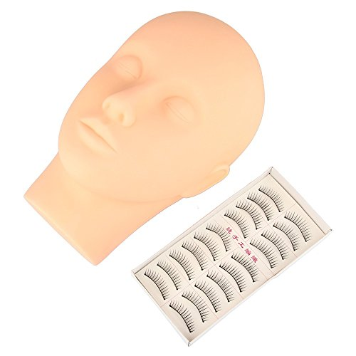 Beauty7 Extensiones de Pestañas Práctica Maniquí Kit de Cabeza Plana Goma Make Up Eyelash + 10 pares de Pestañas Postizas de Práctica Pestañas Ojos Sombra Labio para Maquillaje(Set)