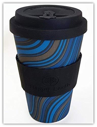 WAVESTRIPE von Happy Earth (Wiederverwendbare Öko-Kaffeetasse 450ml, mit Bio-Bambus Naturfaser, kann als Reisebecher oder Kaffee-Tasse zu Hause verwendet werden)
